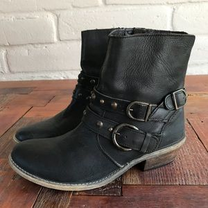 Steve Madden Rustic Buckle Stud Ankle Boot Leather